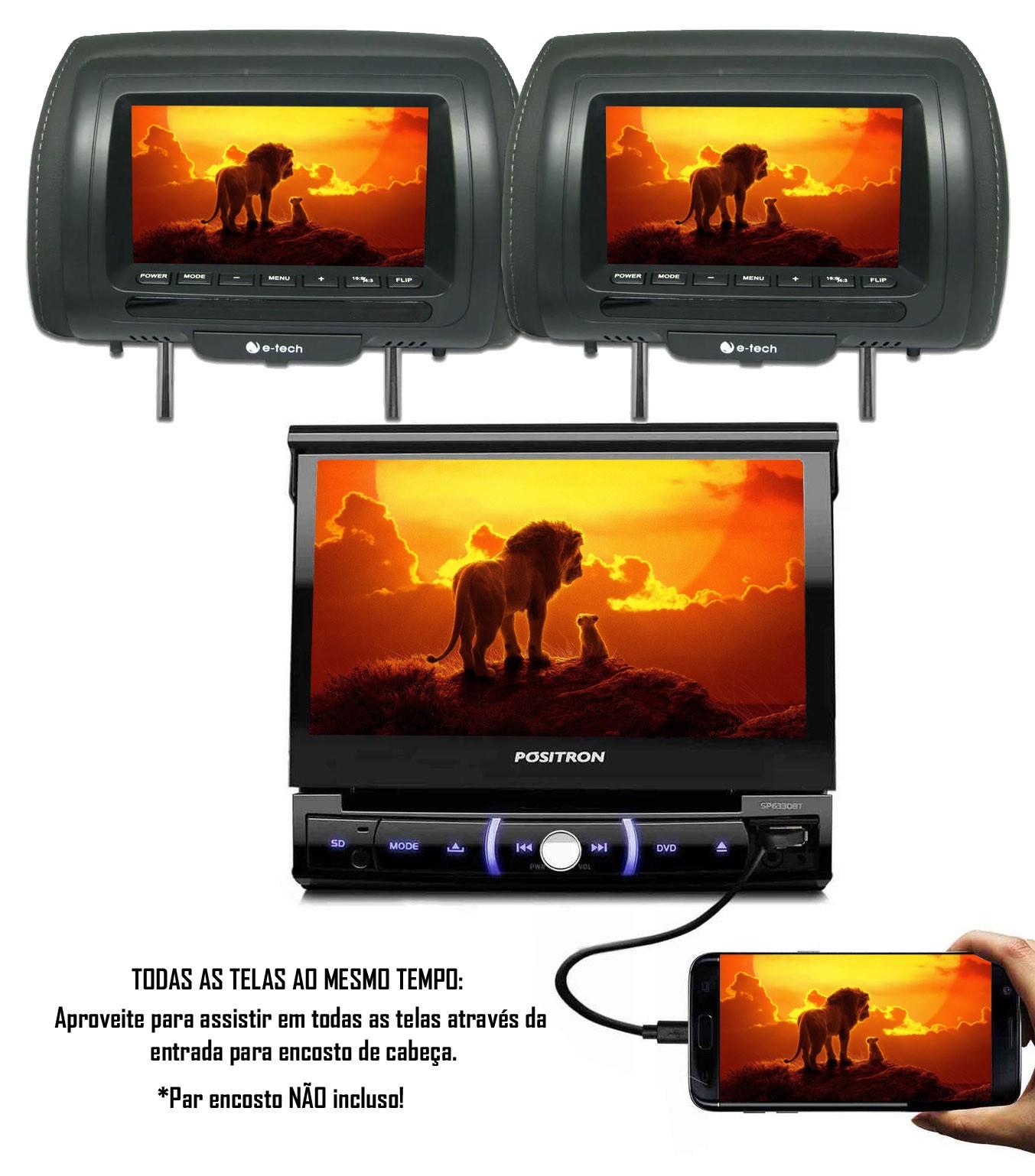 """Multimídia Positron Retrátil SP6330BT 1 Din 7"""" Polegadas Entrada USB Bluetooth Espelhamento Android SD Card + Câmera de Ré"""