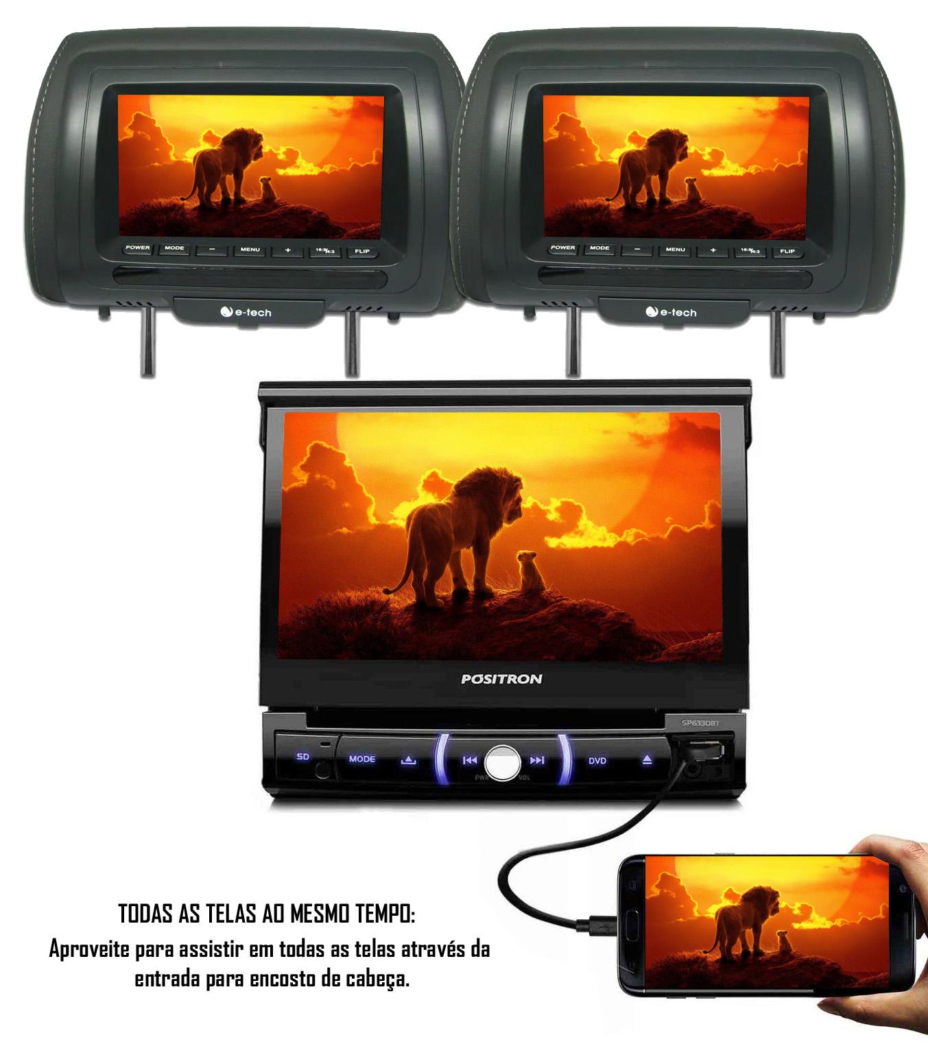 """Multimídia Positron Retrátil SP6330BT 1 Din 7"""" USB Bluetooth Espelhamento Android + 2 Encosto de Cabeça AV + Câmera Ré"""