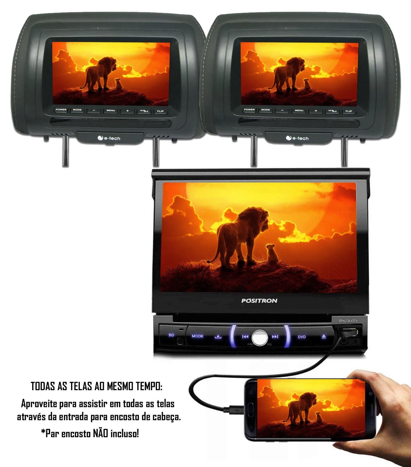 """Multimídia Positron Retrátil SP6730DTV 1 Din 7"""" Polegadas TV Digital Integrada USB Bluetooth Espelhamento Android SD Card + Câmera de Ré"""