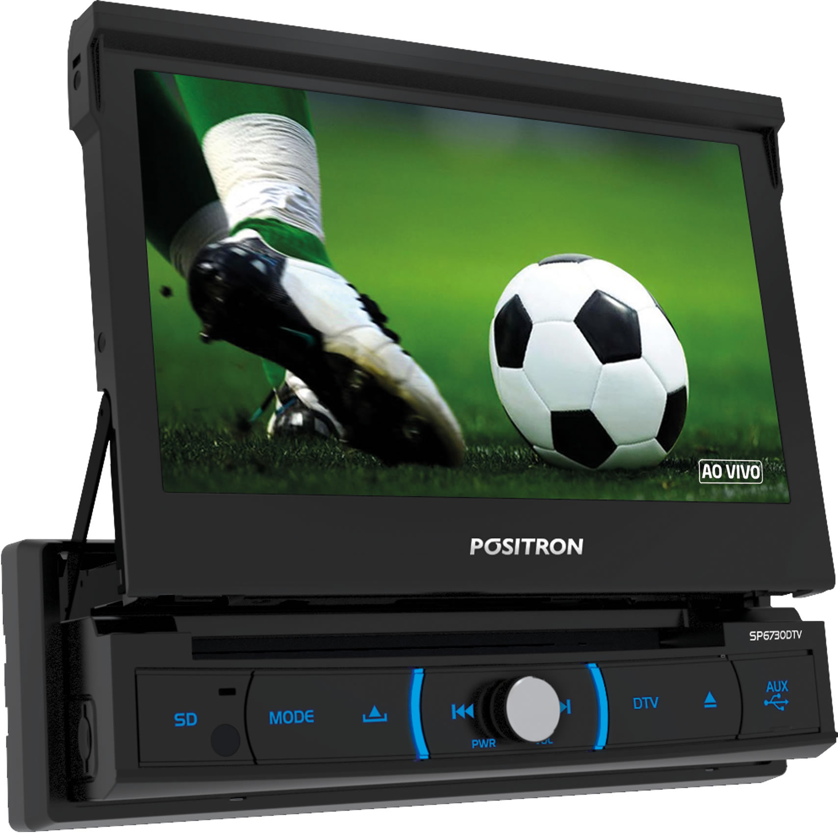 """Multimídia Positron Retrátil SP6730DTV 1 Din 7"""" TV Digital Integrada USB Bluetooth Espelhamento Android + 2 Encosto de Cabeça AV + Câmera Ré"""