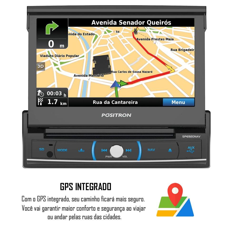 """DVD Retrátil Positron SP6920NAV 1 Din 7"""" Polegadas TV Digital Integrada GPS Integrado USB Bluetooth Espelhamento SD Card + Câmera de Ré"""