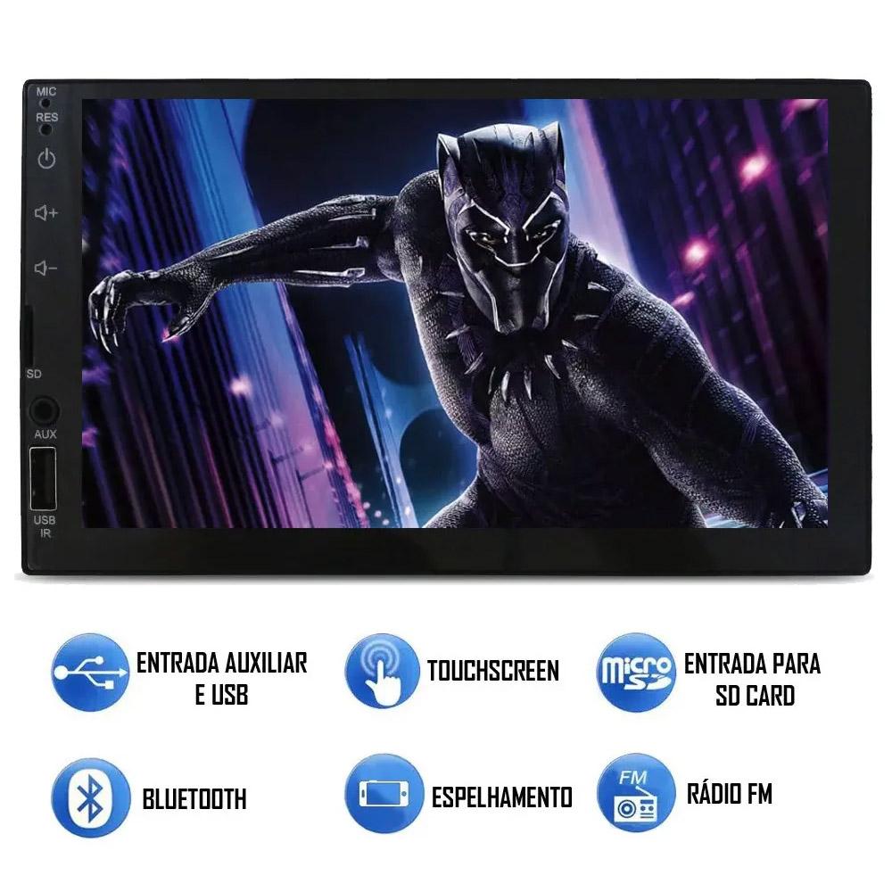 Multimídia VW Fox 2020 2021 2022 Espelhamento Bluetooth USB SD Card + Moldura + Câmera Borboleta + Adaptador de Antena
