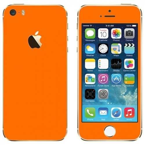 Adesivo Skin Premium - Fosco Liso Laranja - Iphone 5/5s/se