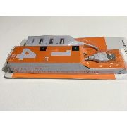 Mini Hub Hi-speed Usb 2.0 Com 4 Portas - Branco Um Metro