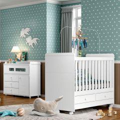 Conjunto com Cômoda e Berço Mini-cama Aquarela Henn - Branco