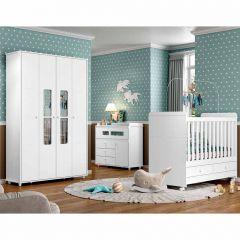 Quarto de Bebê Completo com Berço Mini-cama, Cômoda e Guarda-roupa Aquarela Henn - Branco