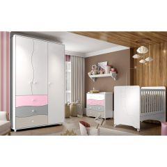 Quarto de Bebê Completo Adoleta com Berço Mini-cama, Cômoda e Guarda-roupa - Branco/Colorido