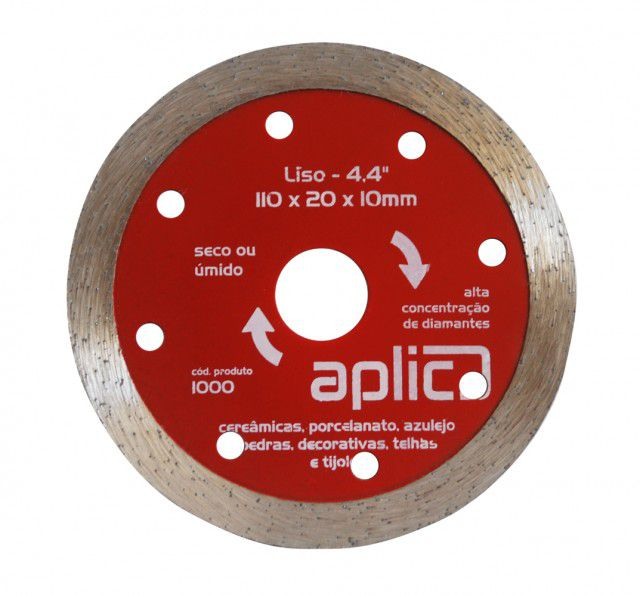 Disco Diamantado Liso 110 X 20 X 10mm  Peças