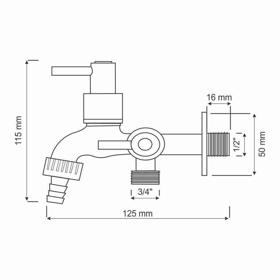 Torneira Para Máquina de Lavar C72