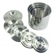 Jogo Latas Mantimento Alimentos Aluminio Polido 5 Peças