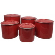 Jogo Latas Mantimento Alimentos Aluminio Vermelho 5 Peças