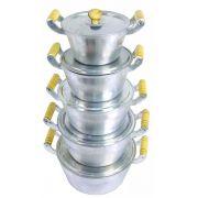 Jogo Panelas Caçarolas Alumínio Polido Alça e Pomel de Madeira Do 16 ao 24 cm