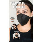 Mascara Cirúrgica Com ajuste no elastico Reutilizável preta 10 Un