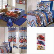 60d57ca3a1 Cobertor+ Jogo Cama+ Cortina+ Toalha Carros Cup Disney