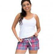 34d41ef27 Pijama Short Doll Alcinha Coton e Short Xadrez