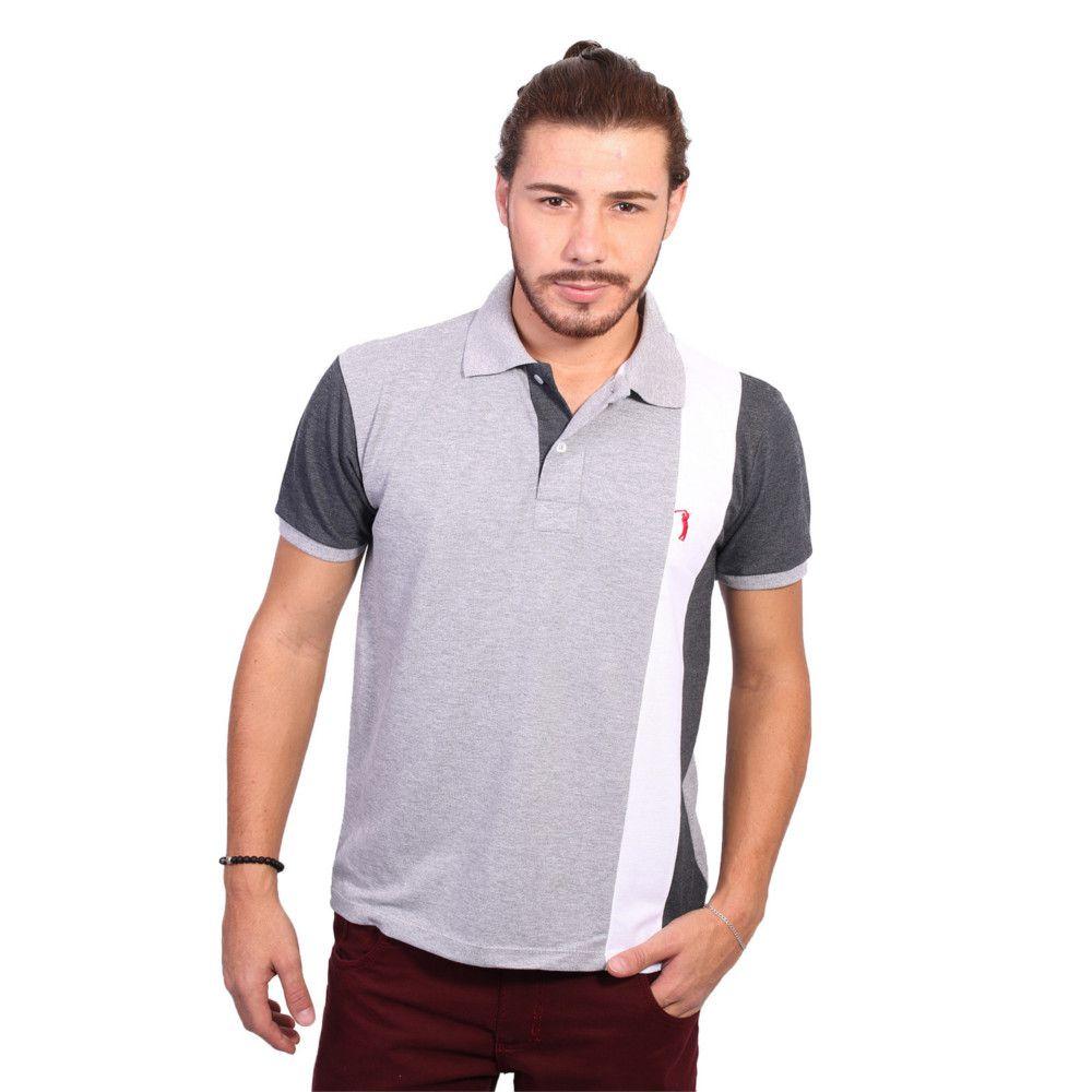 Camisa Polo Golf Club Listrada Cinza e Chumbo - Zaxus - Moda Online bd29639bcbe61