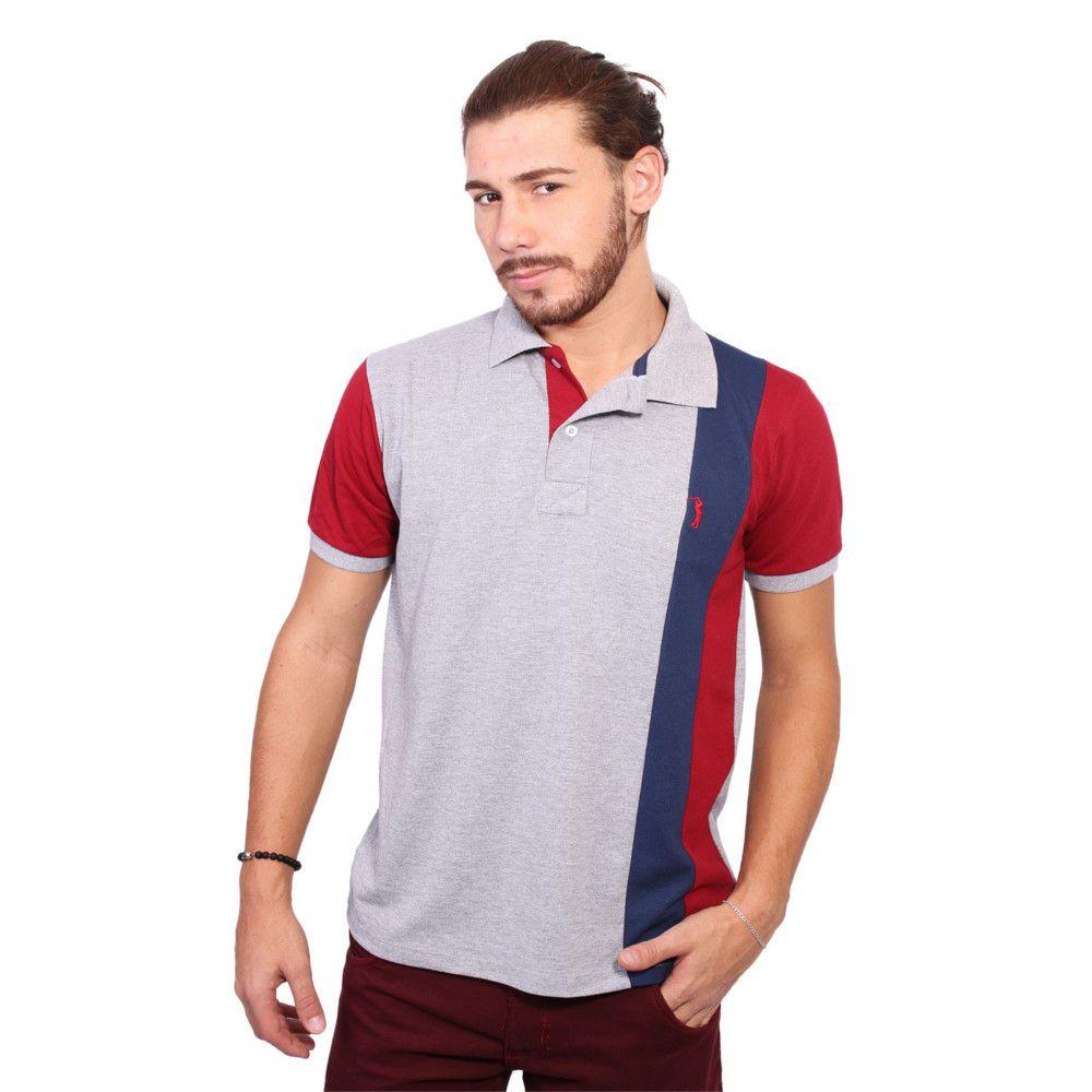 cd49a99b91 Camisa Polo Golf Club Listrada Cinza e Vinho - Zaxus - Moda Online