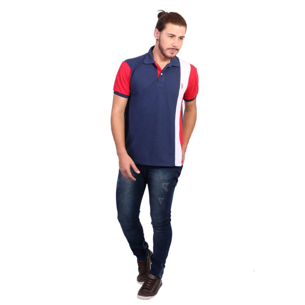 Camisa Polo Golf Club Listrada Marinho e Vermelho - Zaxus - Moda Online d9caff23d7f3f