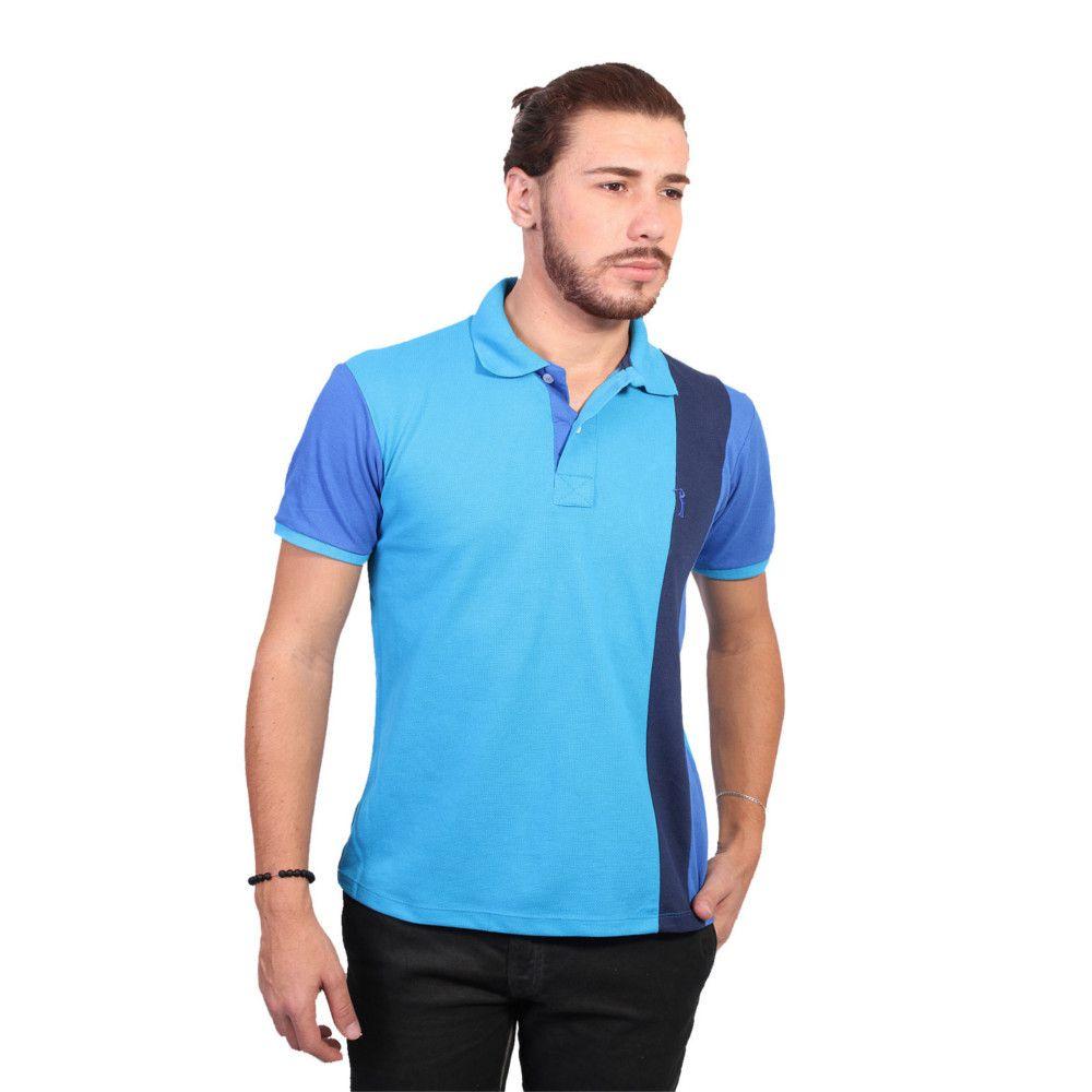 Camisa Polo Golf Club Listrada Turquesa e Azul Royal - Zaxus - Moda ... 0bab251b88a43