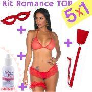 Kit Romance Top 5x1 Máscara, Chibata, Top, Persex E Calcinha fio dental + tesão De Vaca