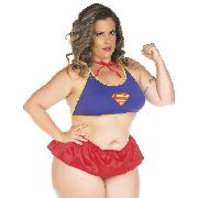 Fantasia Plus Size Heróis Super Girl Short Pimenta Sexy