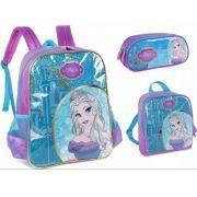Kit escolar Princesa Mochila, Lancheira e Estojo Luxcel