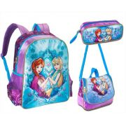 Kit escolar Princesas Friends on Ice Mochila, Lancheira e Estojo - Clio