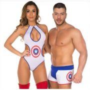 Kit Fantasia Super Heróis Body e Cueca Sensual Capitão America Pimenta Sexy