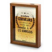 Quadro Porta Tampinha De Cerveja Madeira E Vidro Decoração Brasfoot