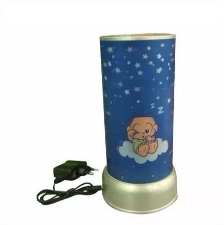 Abajur Luminária 3d Turma Da Monica Baby Led Giratória Azul