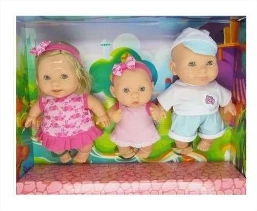 Boneca Família 3 Irmãos Bee Baby