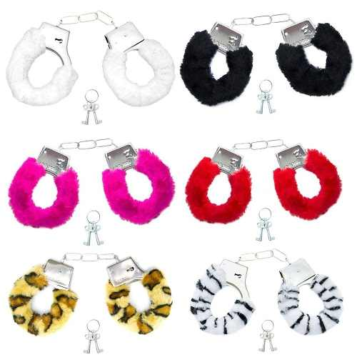 Algema de Metal  1 unid com pelúcia Várias Cores Hand Cuffs Importação