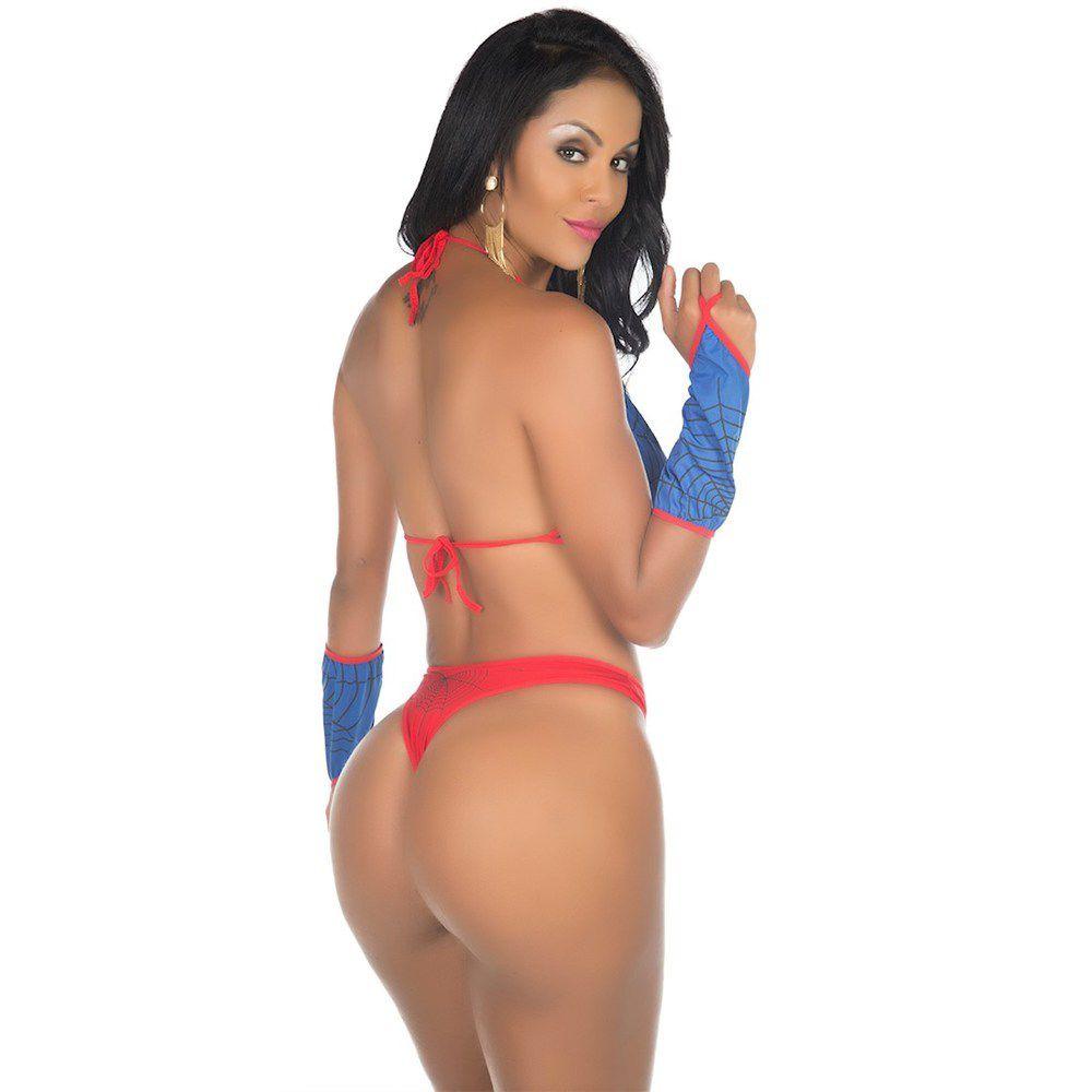 Fantasia Body Super Heróis  Mulher Aranha Pimenta Sexy