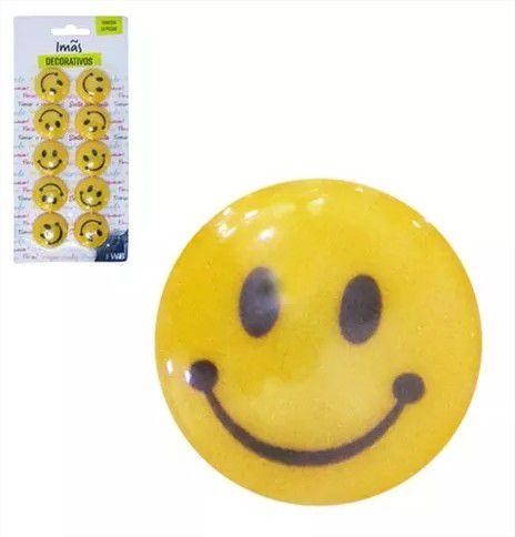 Imã Prendedor Magnético Multiuso Smile Emoticons Kit Com 10 Peças