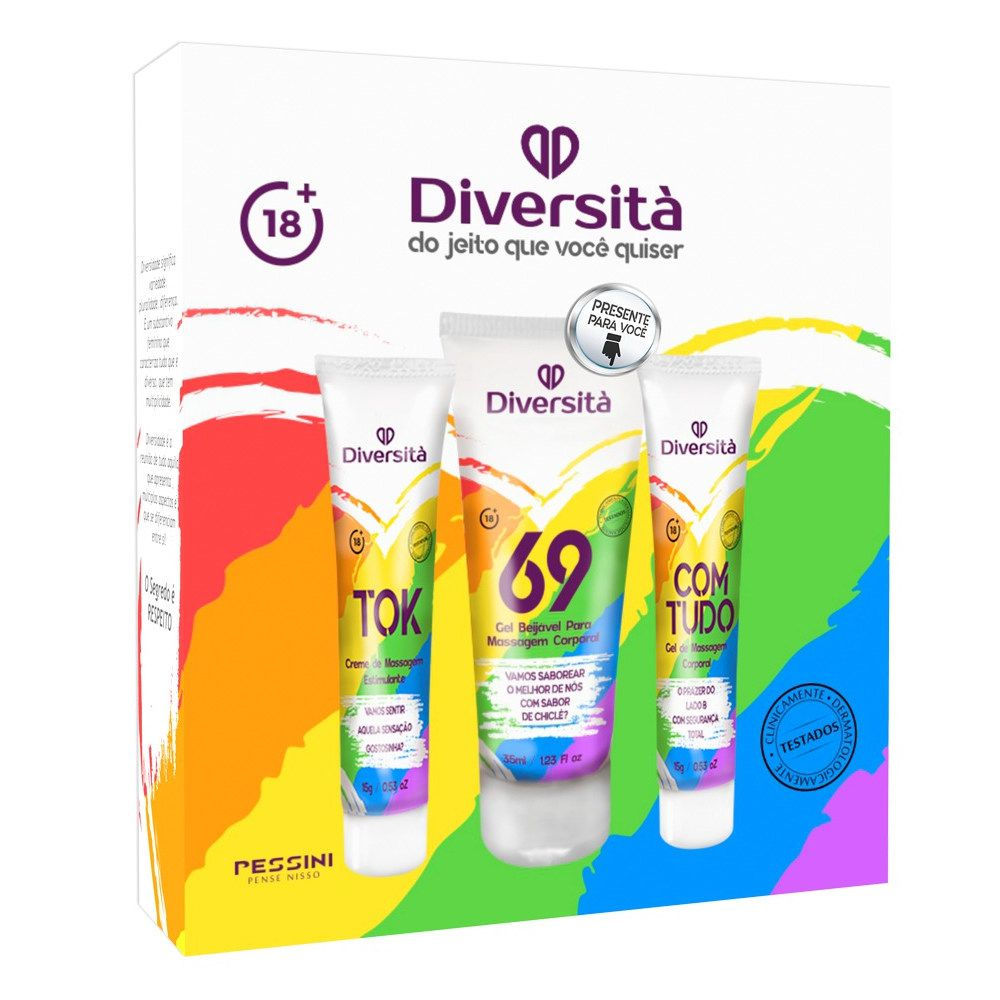 Kit Sensual Diversitá 3 em 1 Excitante, Gel beijável p/ massagem e Dessensibilizante Anal Pessini