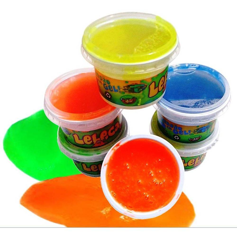 Leleca gel Amoeba Geleca 12 Potes Kids cores diversas
