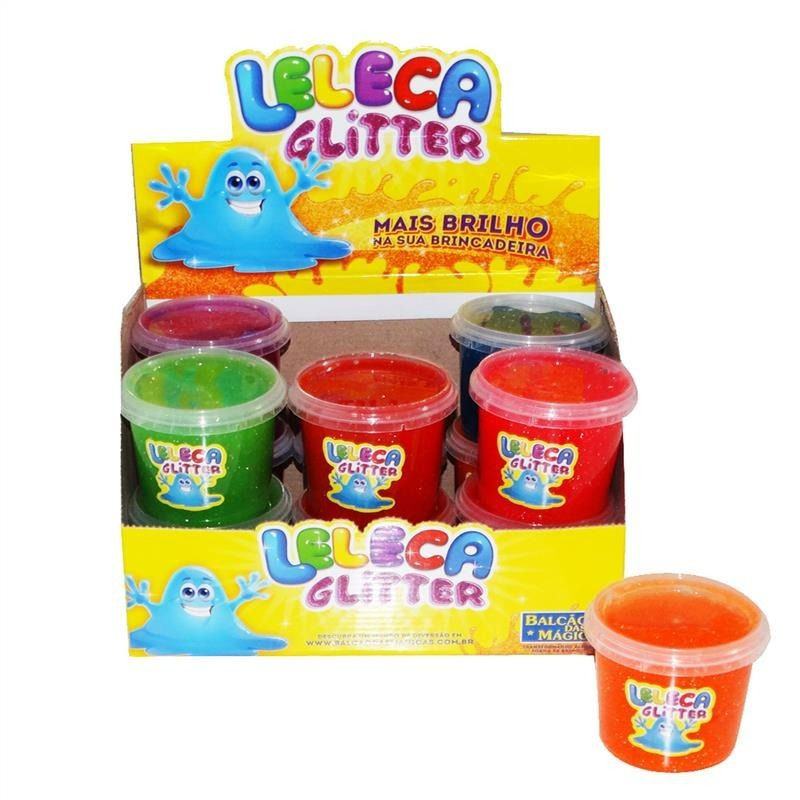 Leleca Glitter gelatinosa tipo amoeba 12 unid Cores variadas