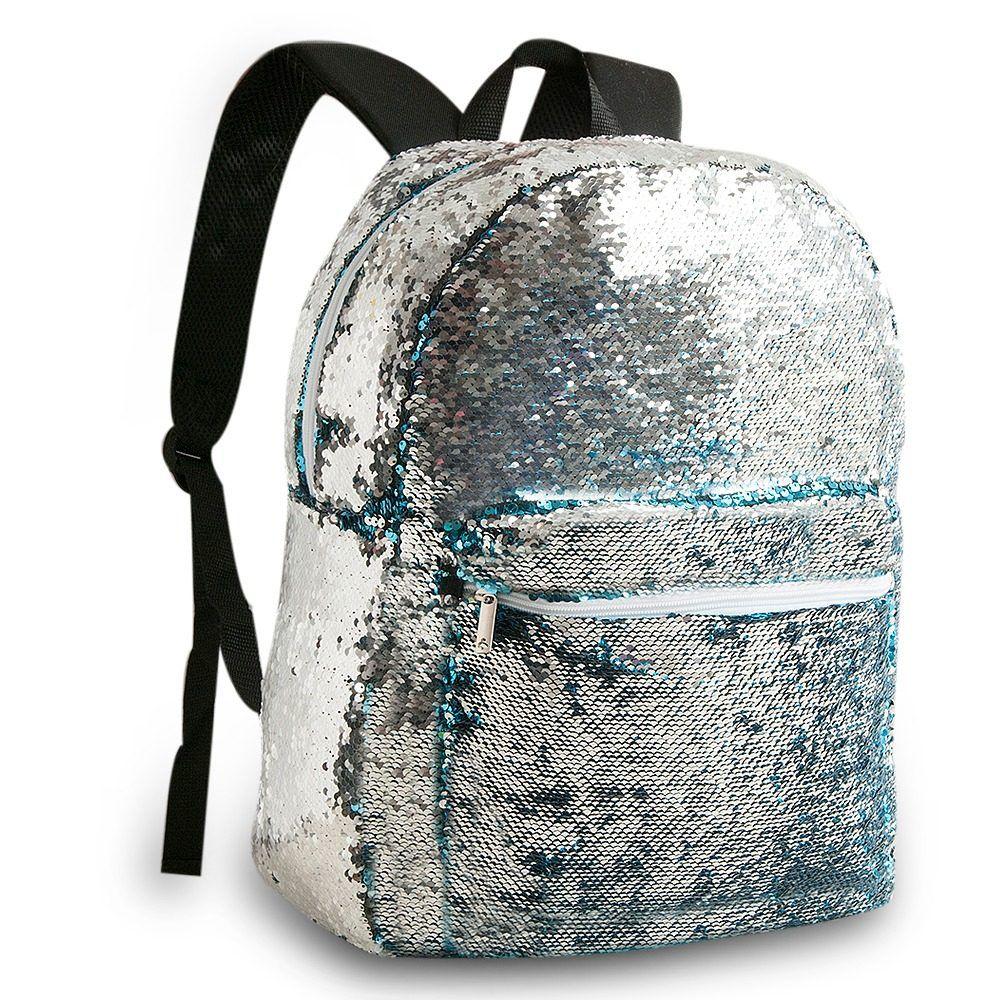 Mochila Escolar Juvenil Paetê Bicolor Que Muda De Cor Azul e Prata Clio