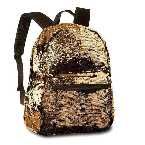 Mochila escolar Juvenil Paetê Que Muda De Cor Preto e Dourada Clio