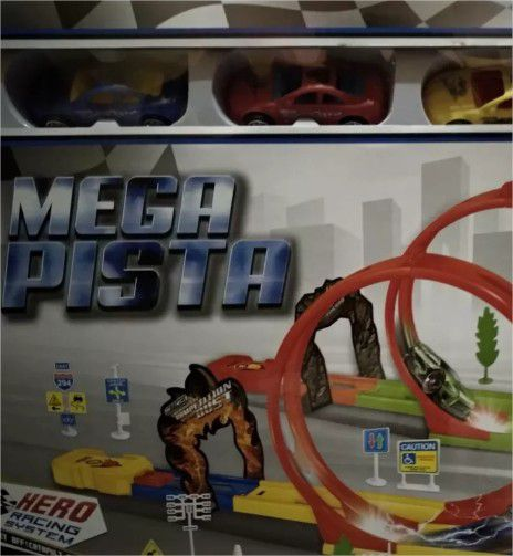 Pista Looping Power Top Dupla Com Lançador E Carrinho Pica Pau