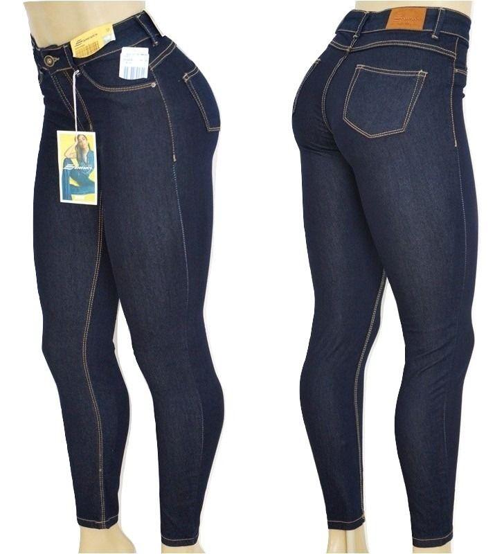 a3eeb48db Calça Jeans Feminina Legging Super Lipo Sawary Cintura Alta Azul Escuro