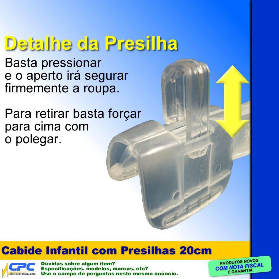 Cabide com Presilhas Tamanho Infantil 20cm Translúcido Kit com 50 Unid.