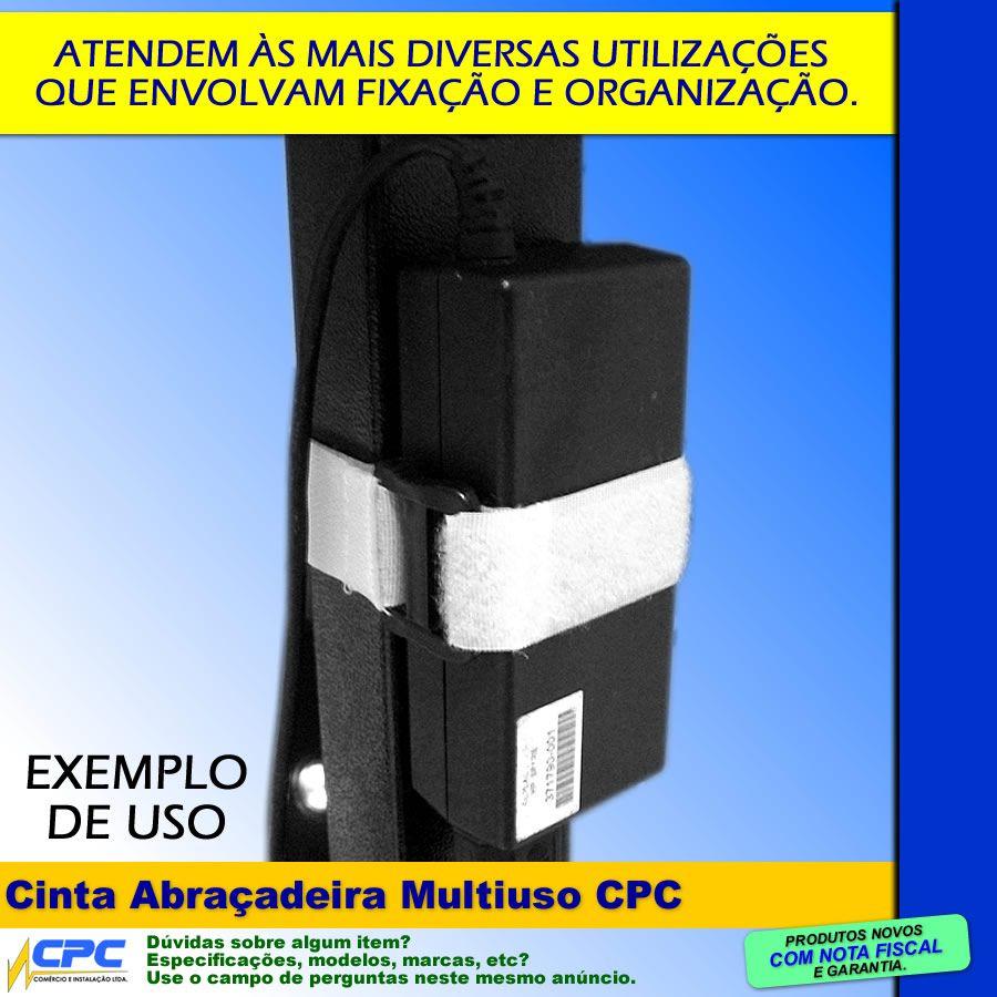 Cinta Abraçadeira Multiuso 25mm x 340mm Branca Kit com 10 Unidades