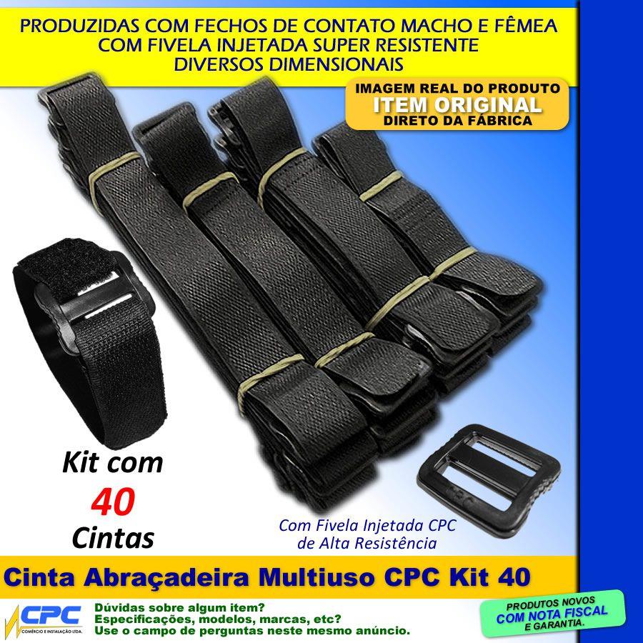 Cinta Abraçadeira Multiuso 4 Tamanhos Kit com 40 Unidades