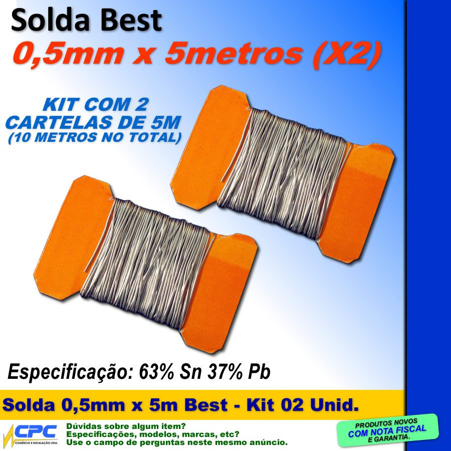 Estanho em Fio 0,5mm x 5 metros Solda Best Kit com 2