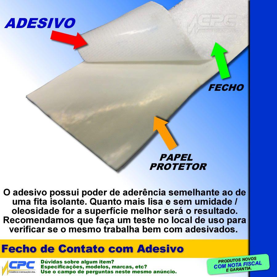 Fecho de Contato com Adesivo Par Macho Fêmea Branco 25mm x 5m