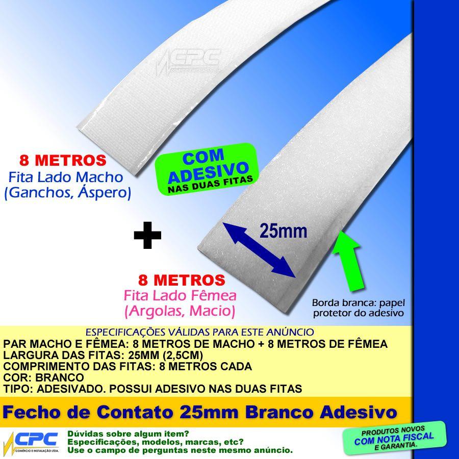 Fecho de Contato com Adesivo Par Macho Fêmea Branco 25mm x 8m