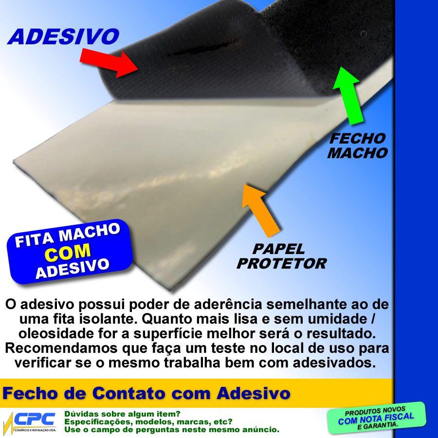Fecho de Contato com Adesivo Par Macho Fêmea Preto 25mm x 5m