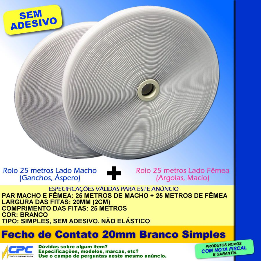 Fecho de Contato Simples Par Macho Fêmea Branco 20mm x 25m