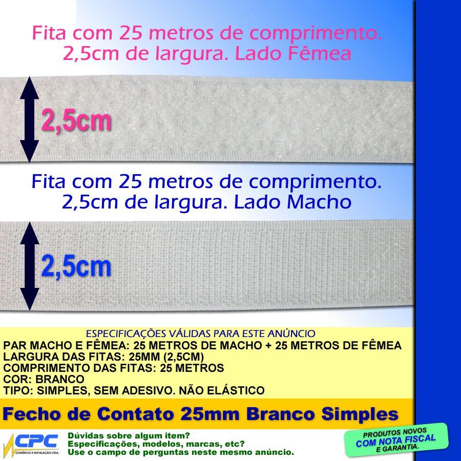 Fecho de Contato Simples Par Macho Fêmea Branco 25mm x 25m